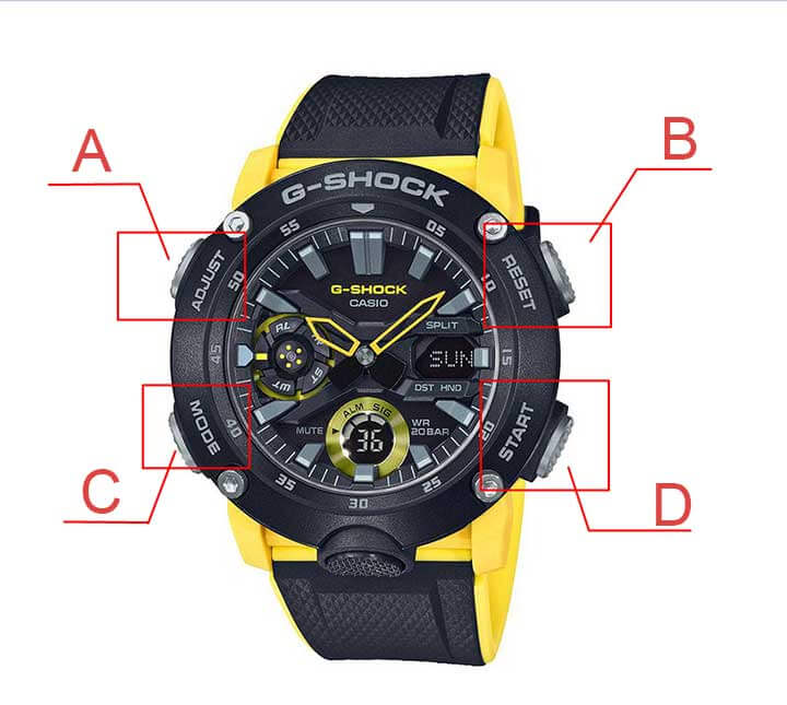cac nut chinh gio dong ho gshock 1989W 1
